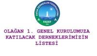 FADEF Genel Kurulumuza Katılacak Derneklerimiz
