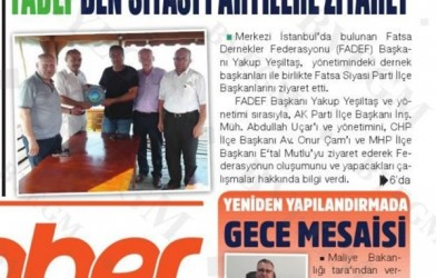 Federasyonumuzun Haberleri Yerel Basında