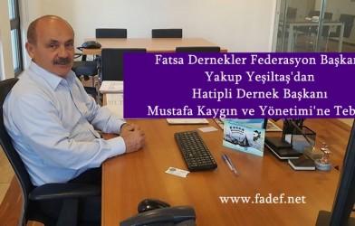 Federasyon Başkanımız Yeşiltaş'dan Hatipli Dernek Başkanı Mustafa Kaygın ve Yönetimi'ne Tebrik