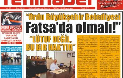 Ordu Büyükşehir Belediyesi Fatsa'da Olmalı!